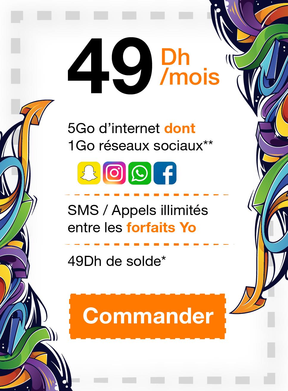 4Go d'internet + 49Dh de soldes + SMS/Appels intra-forfaits communaité illimités + 1Go réseau sociaux aprés épuisement