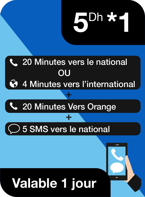 20 Minutes ou 4 Minutes internationaux + 20 Minutes vers Orange + 5 SMS nationaux